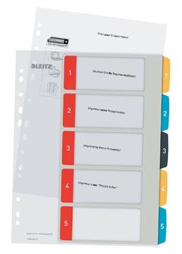 Leitz Cosy tabbladen, ft A4, 11-gaatsperforatie, PP, geassorteerde kleuren, set 1-5
