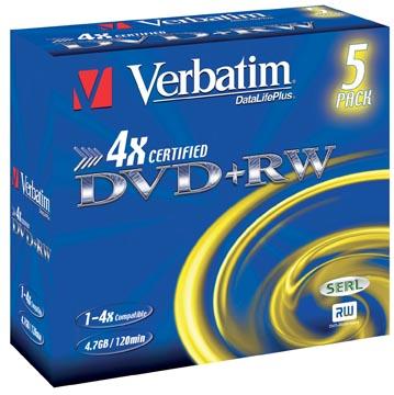 Verbatim DVD rewritable, doos van 5 stuks, individueel verpakt (Jewel Case)