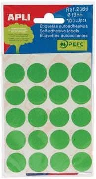 Apli ronde etiketten in etui diameter 19 mm, groen, 100 stuks, 20 per blad (2066)