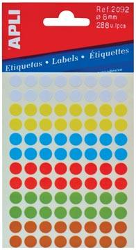 Apli ronde etiketten in etui diameter 8 mm, geassorteerde kleuren, 288 stuks, 96 per blad (2092)