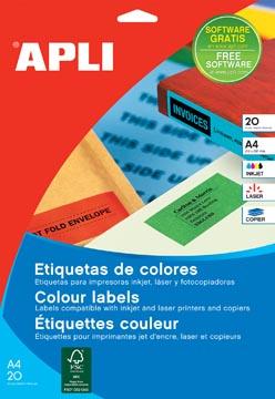 Apli gekleurde etiketten ft 70 x 37 mm (b x h), rood, 480 stuks, 24 per blad (1593)