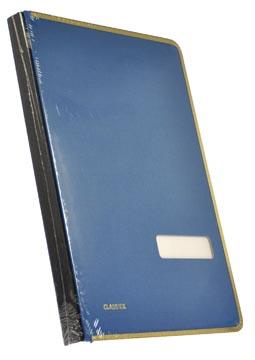 Class'ex handtekenmap, linnen omslag, met metalen beschermrand, blauw