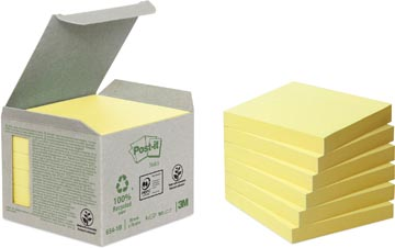 Post-it Notes gerecycleerd, ft 76 x 76 mm, geel, 100 vel, pak van 6 blokken
