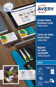 AVERY visitekaarten voor inkjet Quick&Clean mat, 200 kaartjes, 260 g/m²