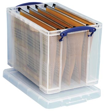 Really Useful Box opbergdoos 19 liter hangmappenkoffer inclusief 10 hangmappen, transparant