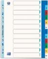 OXFORD tabbladen, formaat A4 maxi (voor showtassen), uit gekleurde PP, 11-gaatsperforatie, set 1-12